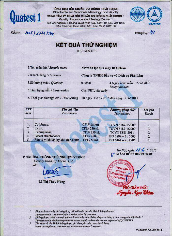 giấy chứng nhận máy lọc nước an toàn